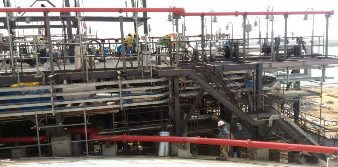 Process Platform Piping Structural erection works at LNG Tank top
